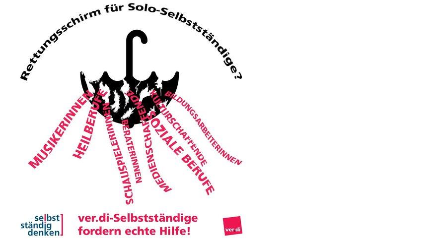 """Aktionsgrafik zum 04.06.2020 """"Rettungsschirm für Soloselbstständige?"""""""